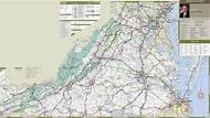 Large detailed tourist map of Virginia with cities and towns