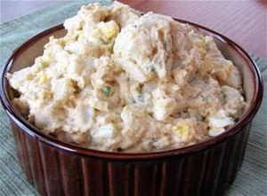 Chesapeake Potato Salad Mustard- and mayo-based potato salad seasoned with a Old Bay. Great side for fried fish and seafood. 17 Servings