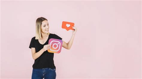 Happy young woman holding love and instagram icon 8k