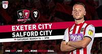 🎟 Grab advance priced tickets for our next home match against Salford City The High-flying Grecians are back in EFL Sky Bet League Two action at St James Park on Saturday, March 14 against Salford City in a 3pm kick-off.