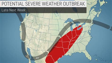 """Forecasters put center of nation on alert for potentially volatile weather pattern One weather element has meteorologists """"concerned"""" for a dangerous weather pattern, which could yield one or more severe weather outbreaks beginning next week."""