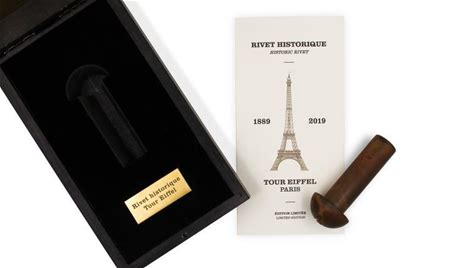 The Eiffel Tower's historic rivets: a true collector's item To commemorate its 130th anniversary, the Eiffel Tower created an exceptional object, a rivet made of iron from the Eiffel Tower.