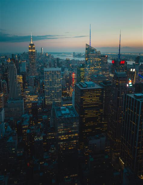 Drone Photography of a City During Sunset