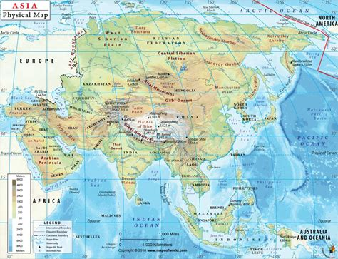 Physical Map of Asia Asia Physical Map