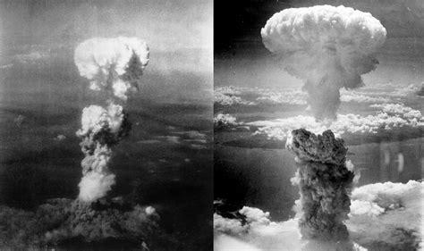 Mushroom clouds of Hiroshima (left) and Nagasaki (right)