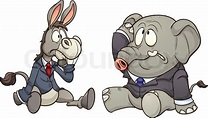 Elephant and donkey in business, Vector clip art ...