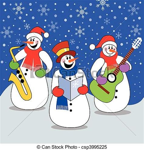 Clipart Vector of Christmas concert - Three snowman band ...