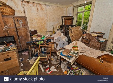The bedroom of an abandoned and tumbledown house in ...