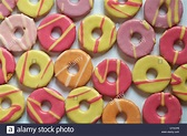 colourful spread of Fox's mini party rings biscuits set on ...