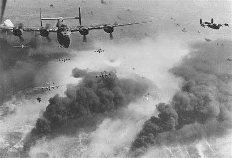 Boeing B-17F bombing through an overcast Bremen, Germany ...