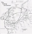 Map showing the principal routes of Viking invasion of England and Europe. Note in particular ...