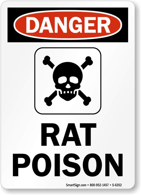 Rat Poison OSHA Danger Sign | Made in USA | Low Prices, SKU: S-6352 - MySafetySign.com