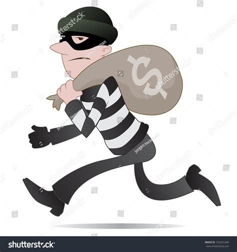 Thief. Illustration Of A Burglar Running Away With His ...
