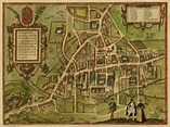 Old Map Cambridge in 1572, city plan by Georg Braun - repro, vintage ...