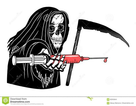 Death with syringe stock vector. Image of syringe, medical ...
