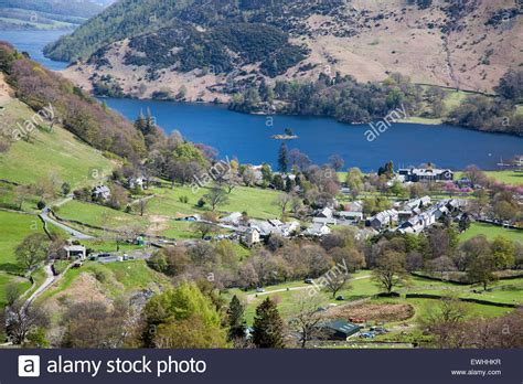View of Ullswater lake and Glenridding village, Lake ...