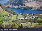 View of Ullswater lake and Glenridding village, Lake ...