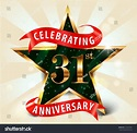 31 Year Anniversary Celebration Golden Star Stock Vector ...