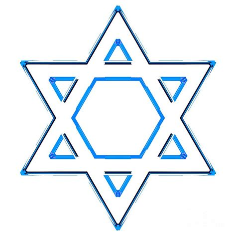 Jewish Star Of David - Blue Outline Version Digital Art by Shazam Images