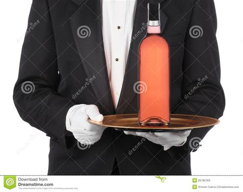 Butler With Wine Bottle On Tray Stock Photos - Image: 25780763