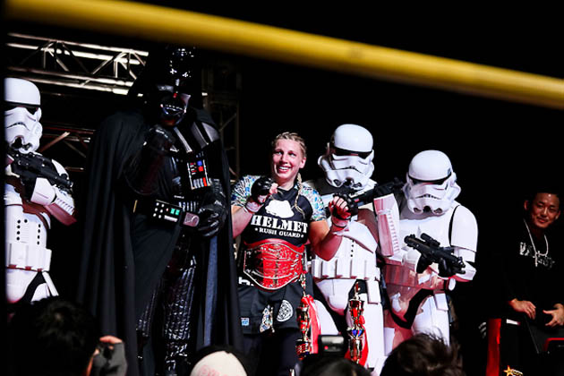 Georges Lucas' daughter wins, celebrates with Darth Vader and some Stormtroopers