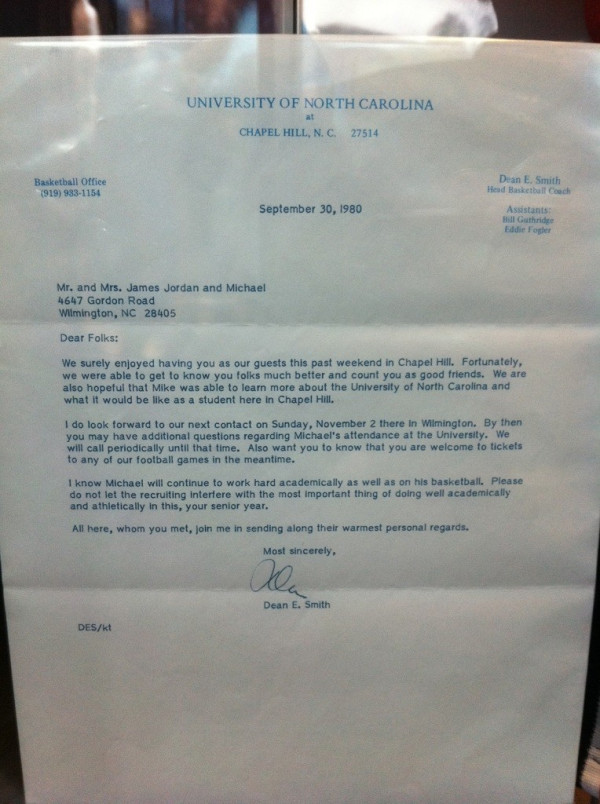 s of Michael Jordan s letter of intent recruiting letters