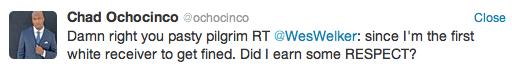 Ochocinco congratulates 'pasty pilgrim' Welker on $10,000 fine