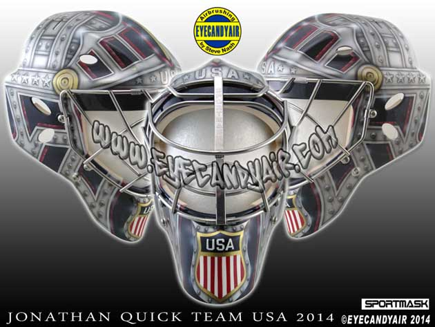 Jonathan Quick's mask doesn't say 'support our troops' this time, it just implies it (Photo)