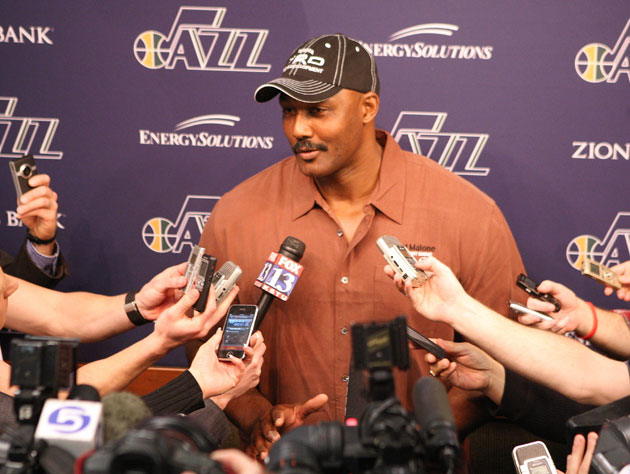 Karl Malone and Utah Jazz owner Greg Miller have kissed and made up