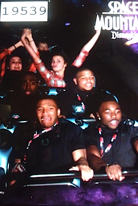LaMichael James experiences the sheer terror of Space Mountain