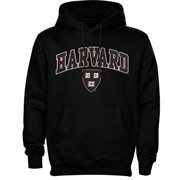 Mens Black Harvard Crimson Arch Over Logo Hoodie