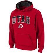 Mens Utah Utes Crimson Classic Arch Logo Twill Hoodie
