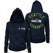 Women's Seattle Seahawks 5th and Ocean by New Era College Navy Zone Blitz Full Zip Hoodie