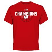 Men's Cardinal Wisconsin Badgers 2015 Big Ten Men's Basketball Conference Tournament Champions T-Shirt