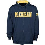 Michigan Wolverines Navy Blue Classic Twill Full Zip Hoodie Sweatshirt