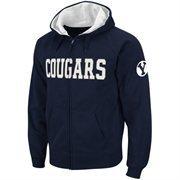 Brigham Young Cougars Classic Twill II Full Zip Hoodie Sweatshirt - Navy Blue