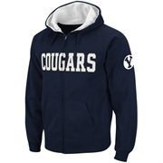 Brigham Young Cougars Classic Twill II Full Zip Hoodie Sweatshirt - Navy Blue