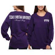 Women's TCU Horned Frogs Purple Pom Pom Jersey Oversized Long Sleeve T-Shirt