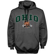 Mens Charcoal Ohio Bobcats Arch Over Logo Hoodie