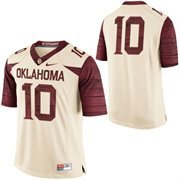 Mens Oklahoma Sooners Nike Cream No. 10 Limited Football Jersey