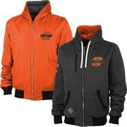 Mens Oklahoma State Cowboys Black/Orange Reversible Fleece Hooded Jacket