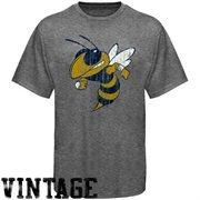 Georgia Tech Yellow Jackets Ash Distressed Big Logo Vintage T-shirt