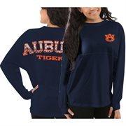 Women's Auburn Tigers Navy Blue Aztec Sweeper Long Sleeve Oversized Top
