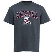 Mens Charcoal Arizona Wildcats Arch Over Logo T-Shirt