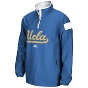 Mens UCLA Bruins adidas True Blue 2014 Football Sideline Coaches Quarter-Zip Long Sleeve Woven Jacket