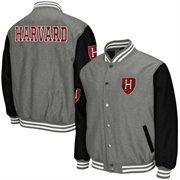 Mens Harvard Crimson Gray Class Letterman Jacket