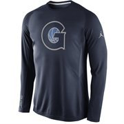 Men's Nike Navy Blue Georgetown Hoyas Disruption 2015 Basketball Shooting Dri-FIT Long Sleeve Shirt