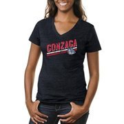 Gonzaga Bulldogs Women's Rising Bar Primary Tri-Blend V-Neck T-Shirt - Navy Blue