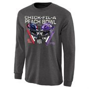 Mens Ole Miss Rebels vs. TCU Horned Frogs Charcoal 2014 Peach Bowl Dueling Stadium Criss Cross Long Sleeve T-Shirt