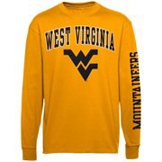 Mens West Virginia Mountaineers Gold Big Arch N' Logo Love Sleeve T-Shirt